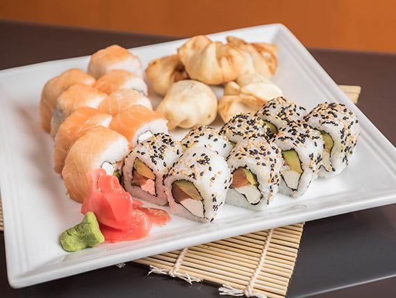 Combinado Kurusake Ya! 2 - Porción de gyozas (5 unidades) + california roll + sake roll