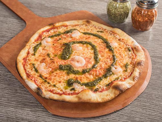 Pizza con camarón al pesto