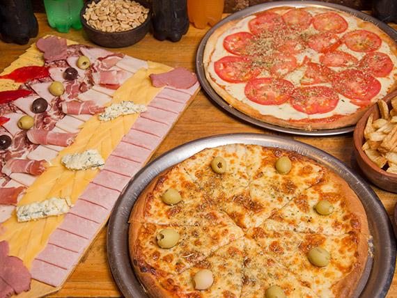Promo familiar - Porción de papas fritas + picada El Codo + 2 pizzas a elección + 6 gaseosas (comen 6, pican 8)