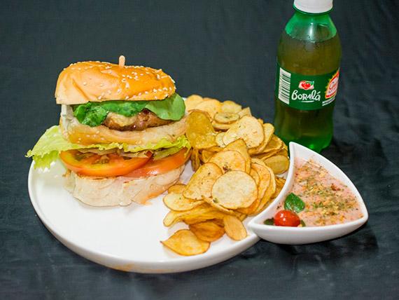 Combo - nº 4 – Artesanal burger chicken + refrigerante + porção de batatas fritas