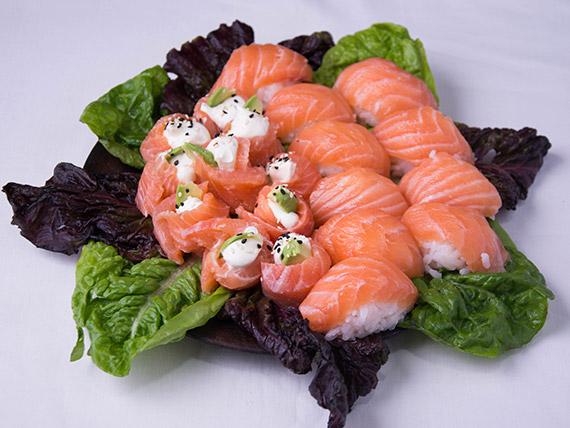 Promo 1 - Geishas de salmón (10 piezas) + niguiris de salmón (10 piezas)