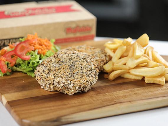 Hamburguesa veggie de quinoa en un pan crocante + guarnición