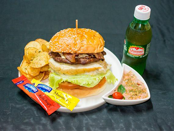 Combo - nº 3 - Artesanal burger one + refrigerante + porção de de batatas fritas