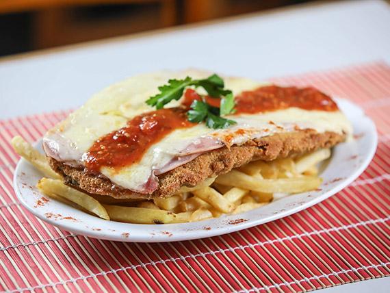 Milanesa napolitana con papas fritas (1 persona)