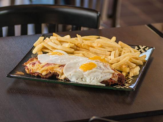 Pizzanesa americana con papas fritas