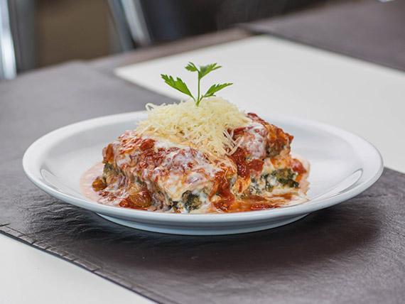 Lasagna de carne y verduras