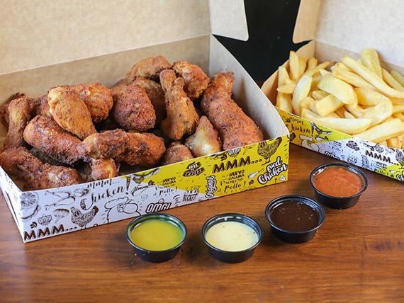 Box - Patitas (6 unidades) + alitas (12 unidades) + papas fritas (1/2 kg) + 4 salsas