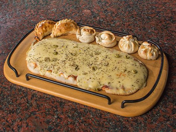 Promo - Pizza a elección (8 porciones) + 6 empanadas