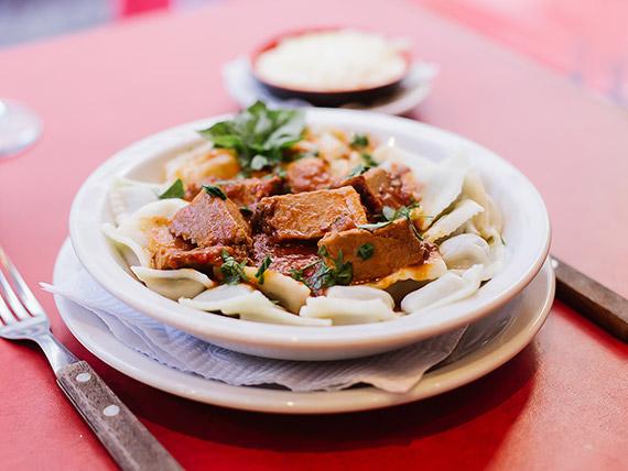 Ravioles de pollo y verdura