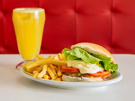 Combo 2 - 1 x-salada + 1 suco de laranja + batatas fritas