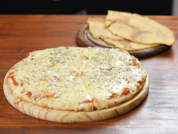 Promo 2 - Pizzeta grande muzzarella (42 cm) + 2 fainá