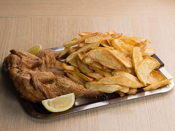 Pollo al horno con papas fritas (2 kg)