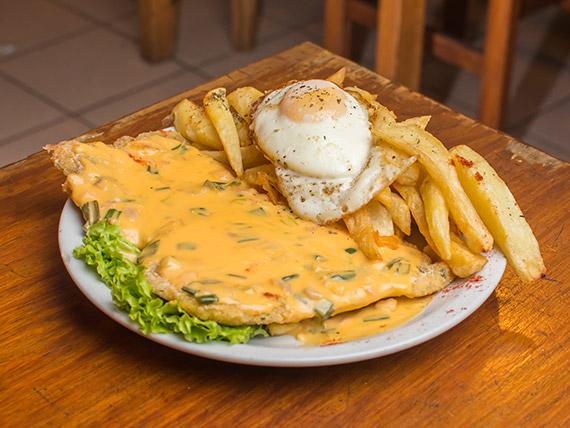 Promo - Suprema Cheddar a la Rosario con huevo frito y papas corte horno