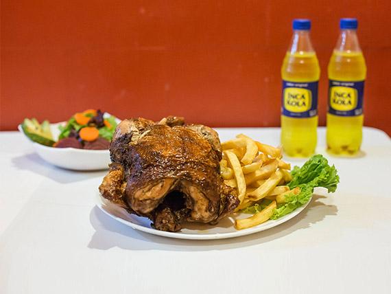 Pollo a las brasas para 5 personas + papas fritas + ensalada mixta
