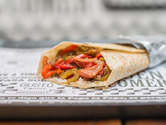 Wrap veggie con papas fritas
