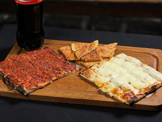 Promo 5 - 1 pizza + 1 pizza muzzarella + 1 fainá + 1 Coca Cola 1 L