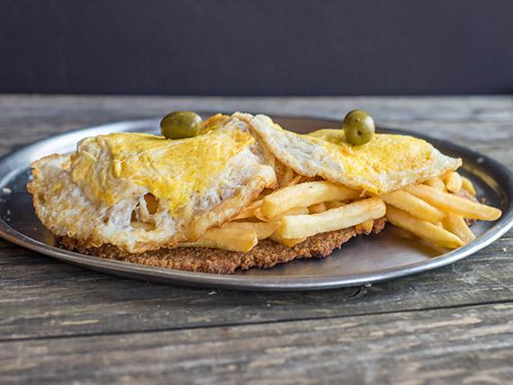 Promo - Milanesa a caballo  con papas fritas y huevo frito