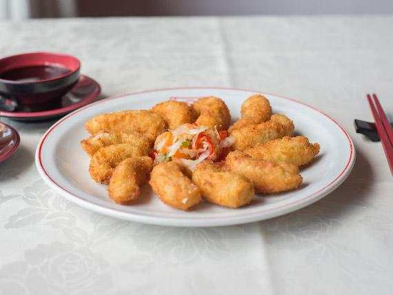 82 - Langostinos fritos con salsa agridulce