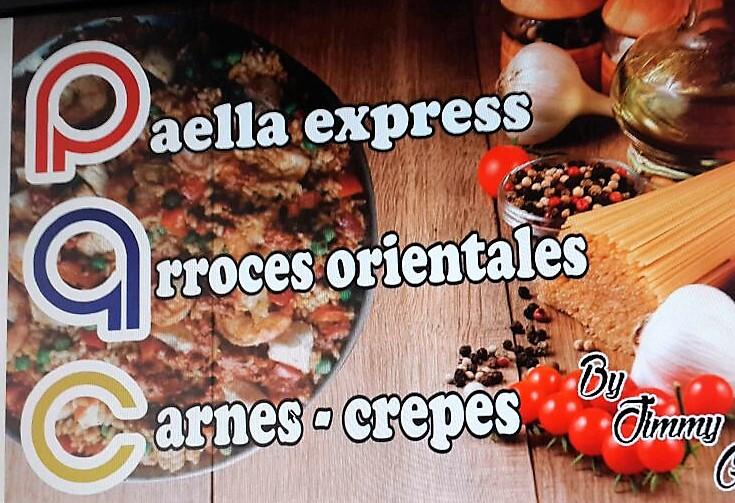 Paella Express, Arroz Oriental, Carne y Crepes